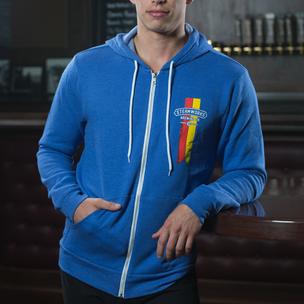 Steamworks Blue Chevron Full Zip Hoodie (m)
